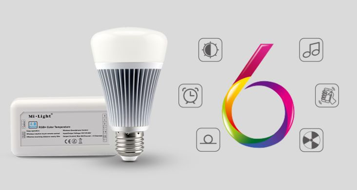 Smart світлодіодна лампочка MiLight, 8W, RGB+CCT, Bluetooth, LLB070-RGBW