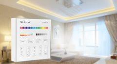 Wall mounted smart remote control, 4 zone, RGB + CCT (DC, 2X AAA batteries)